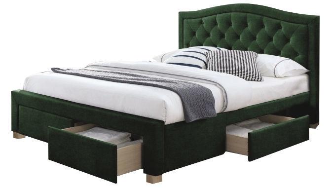 Signal Meble Electra Velvet Bed 160x200cm Green