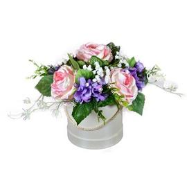 Dirbtinė gėlių kompozicija dėžutėje