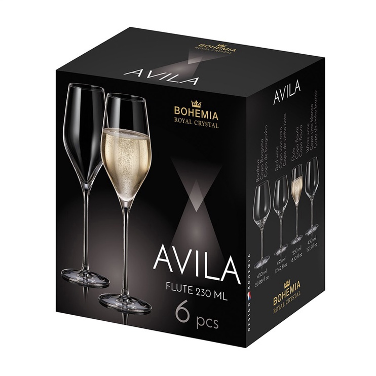 GLĀZE KOMPL. AVILA 230ML 6GAB (BOHEMIA ROYAL CRYSTAL)