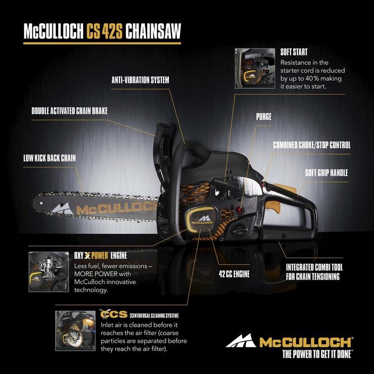 Бензопила McCulloch CS 42S + Chain, 1500 Вт, 35 см