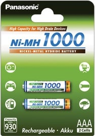 Panasonic NiMh rechargeable battery 2 x AAA 1000mAh