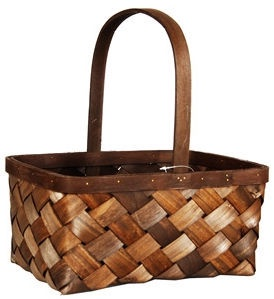 Verners Wood Basket 32x15x24/35cm Dark Brown