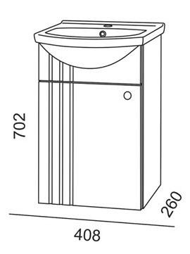Vonios spintelė su praustuvu, Riva SA44, balta