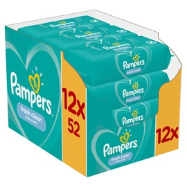Pampers Fresh Clean Baby Wipes 12x52pcs