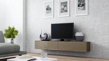 TV staliukas Cama Meble Vigo 180 Latte/Latte Gloss, 1800x300x400 mm
