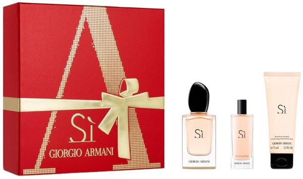 Giorgio Armani Si 100ml EDP + 75ml Body Lotion + 15ml EDP