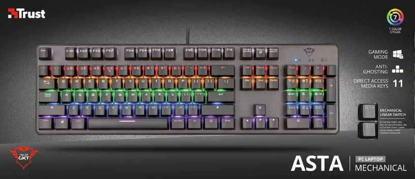 Клавиатура Trust GXT 865 GXT-Red EN, черный
