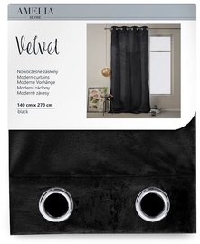 AmeliaHome Velvet Curtains Black 140x270cm