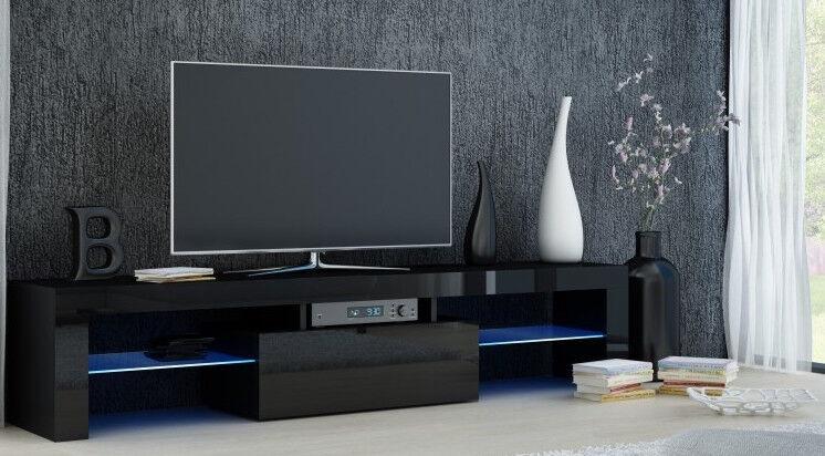 TV galds Top E Shop Deko 160, melna, 1600x400x450 mm