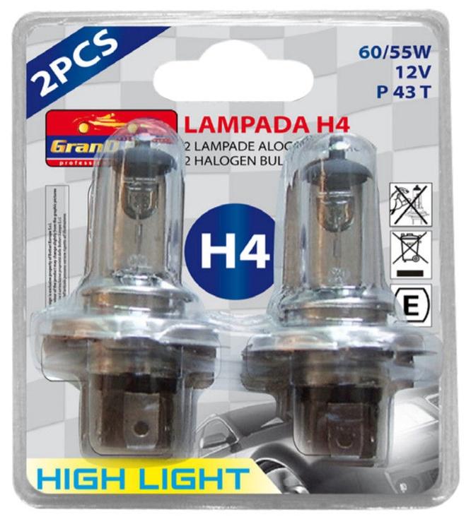Автомобильная лампочка Bottari Halogen H4 12V 60/55W P43T 2pcs 33815