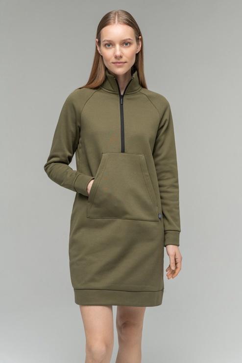 Audimas Soft Cotton Dress Olive Green S