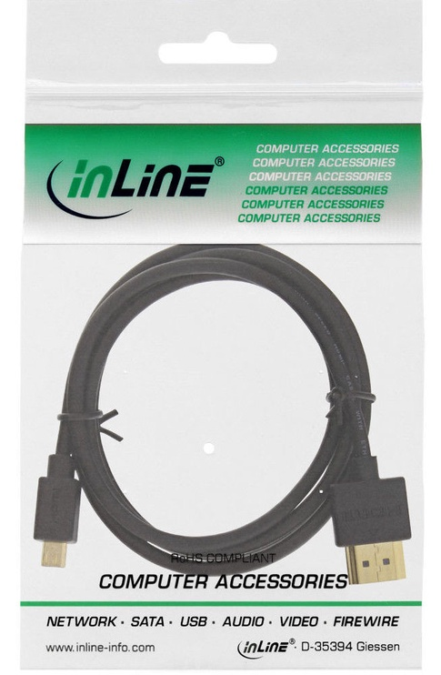 InLine Superslim 4K UHD Cable HDMI To Micro HDMI 1m Black