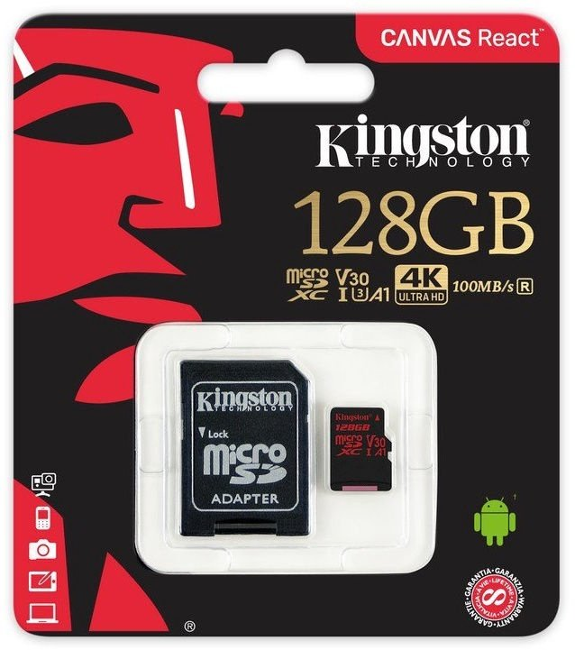 Kingston Canvas React 128GB + SD Adapter