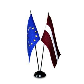Karogs Latvijas un Eiropas Savienības, galda ar statīvu