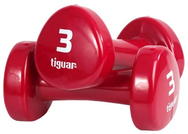 Tiguar Vinyl Dumbbells 2x3kg Red