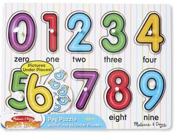 Melissa & Doug See Inside Nubers Peg Puzzle 10pcs