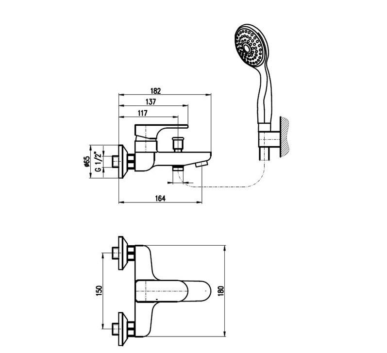 Ūdens maisītājs vannai Rav Yukon YU154.5/1CB, balts