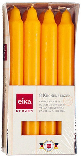 Eika Kerzen.Eika Crown Candles Yellow 8pcs