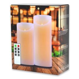 DecoKing Wax LED Candle Set w/ Remote Control 15/20cm 2pcs