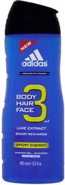 Dušas želeja Adidas 3in1 Sport Energy, 400 ml