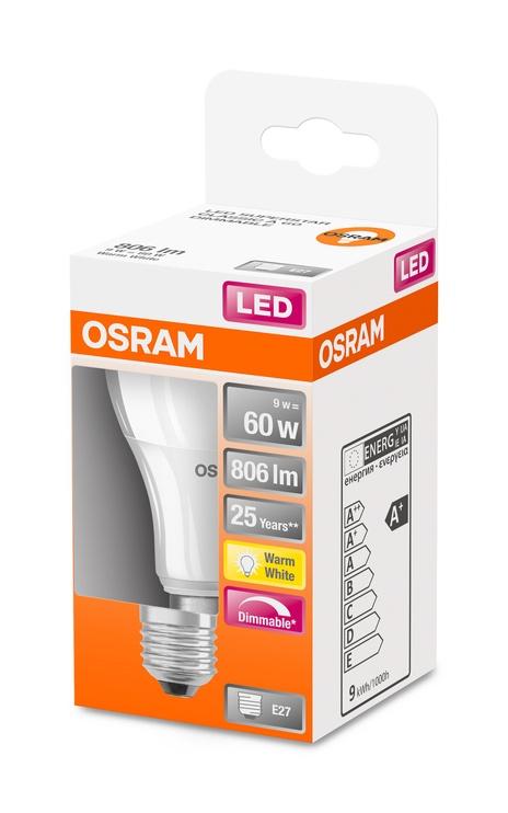 LAMP LED A60 9W E27 827 806LM DIM PL/MAT