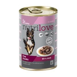 Konserveeritud koeratoit Nutrilove Fine Chunks, kalkuni- ja vasikalihaga, 415 g