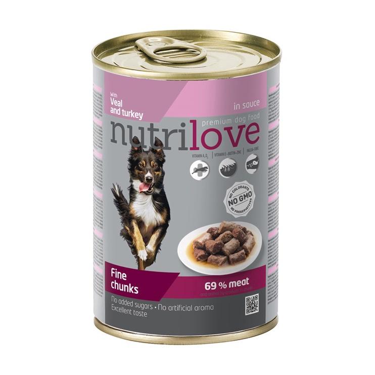 Konservuotas ėdalas šunims Nutrilove Fine Chunks, su kalakutiena ir veršiena, 415 g