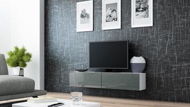 TV staliukas Cama Meble Vigo 140 White/Grey Gloss, 1400x300x400 mm