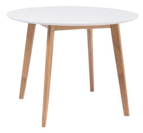 Pusdienu galds Signal Meble Scandinavian Mosso II, balta/ozola, 1000x1000x750mm