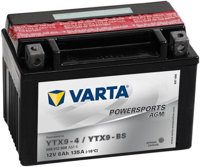 Аккумулятор Varta Powersports AGM YTX9-4 / YTX9-BS, 12 В, 8 Ач, 135 а