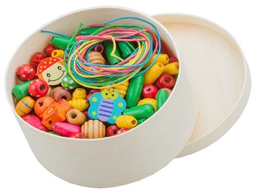 New Classic Toys Wooden Lacing Beads 100g