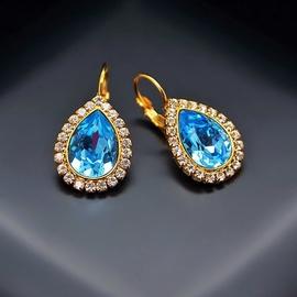 Diamond Sky Earrings With Crystals From Swarowski Heavenly Drop Aquamarine Blue
