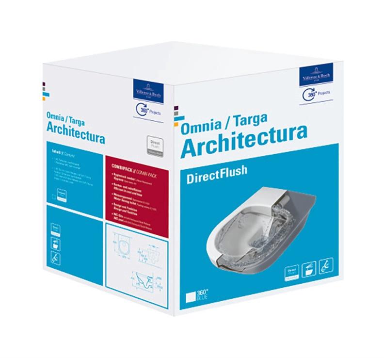 Sienas tualete Villeroy & Boch Architectura 5684HR01, ar vāku, 370x530 mm