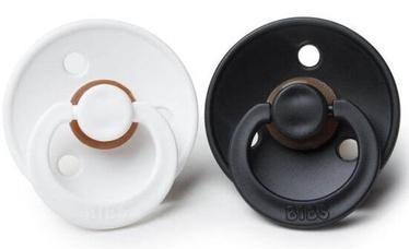 Bibs Colour Round Pacifier 2pcs Black/White 0-6m