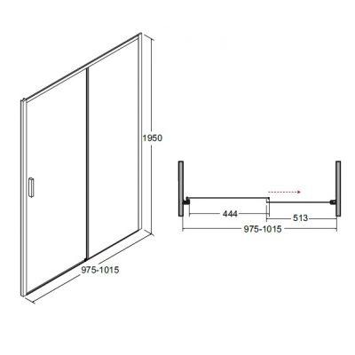 Dušo durys ACTIS, 100 x 195 cm
