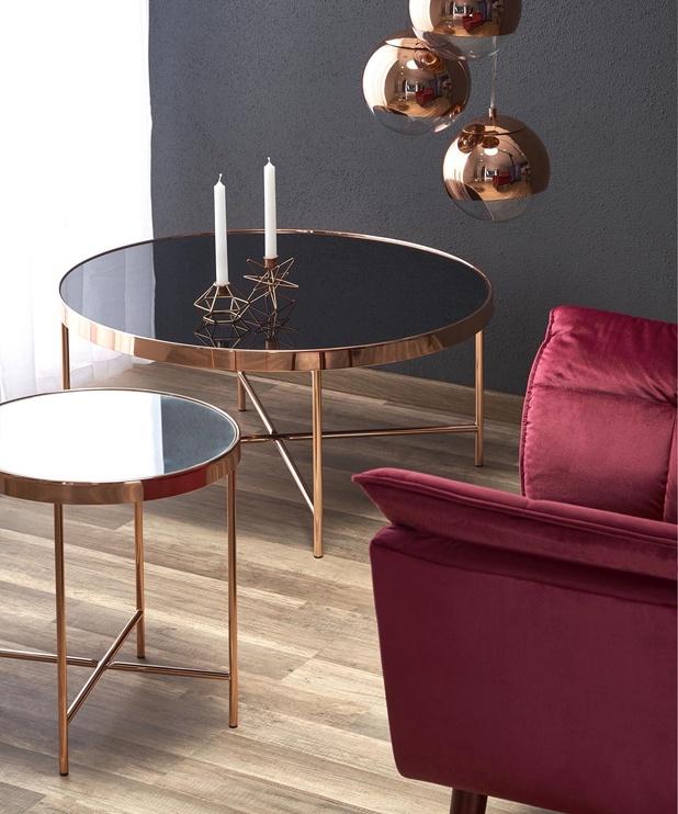 Kavos staliukas Halmar Moria Black/Copper, 820x820x400 mm