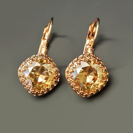 Diamond Sky Earrings With Crystals From Swarowski Sunny Vintage IV Golden Shadow