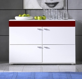 Cama Meble Logo II 120 Chest Of Drawers White/Burgundy Gloss
