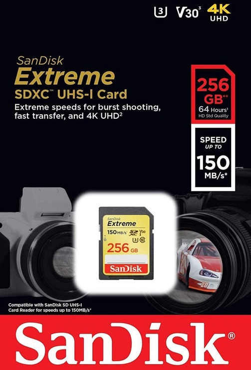 Mälukaart SanDisk Extreme 256GB SDXC Class 10 UHS-I SDSDXV5-256G-GNCIN
