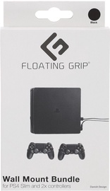 Floating Grip PS4 Slim Wall Mount + 2 Controller Wall Mounts Black