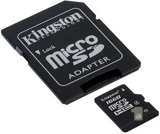 Kingston 16GB Micro SDHC CARD CLASS 4 + Adapter