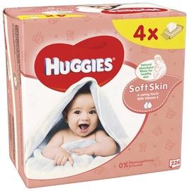 Drėgnos servetėlės Huggies Soft Skin, 4 x 56 vnt.