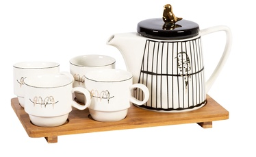 Home4you Parrot 6 Piece Tea Set White/Gold