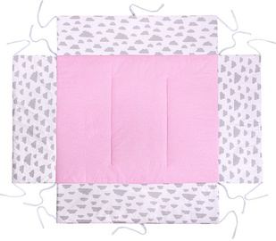 Lulando Playpen Mat For Children Pink With Dots/White With Clouds 75x100cm