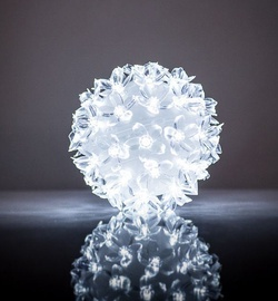 EV LED 50 Ball with Flowers White D11cm