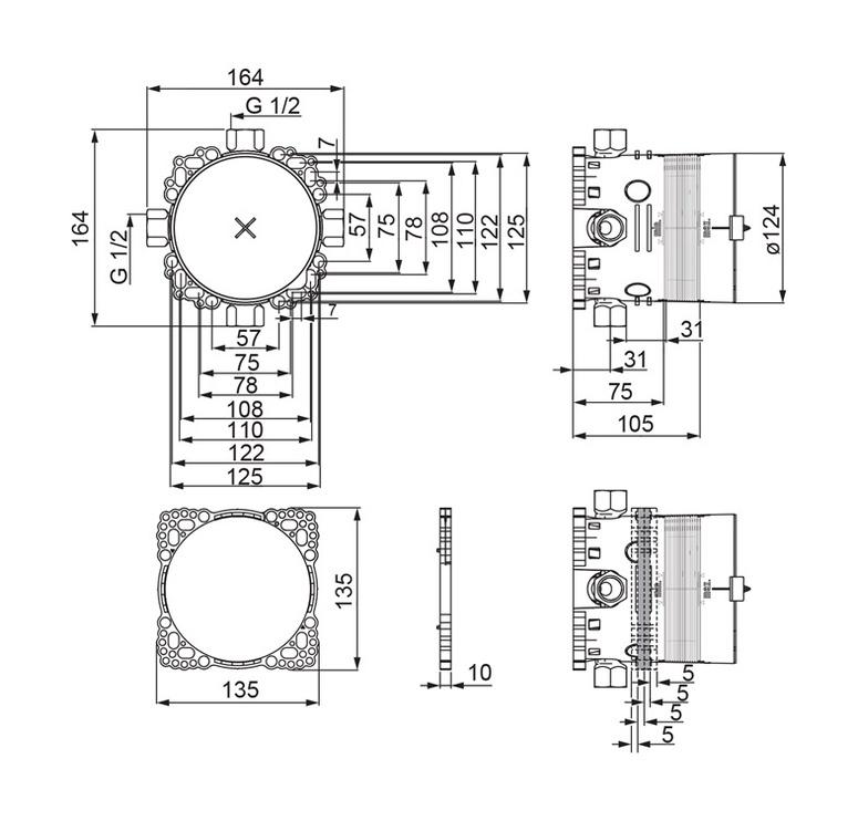 Vonios ir dušo maišytuvo korpusas Oras Saga Bluebox 2080, 1/2''