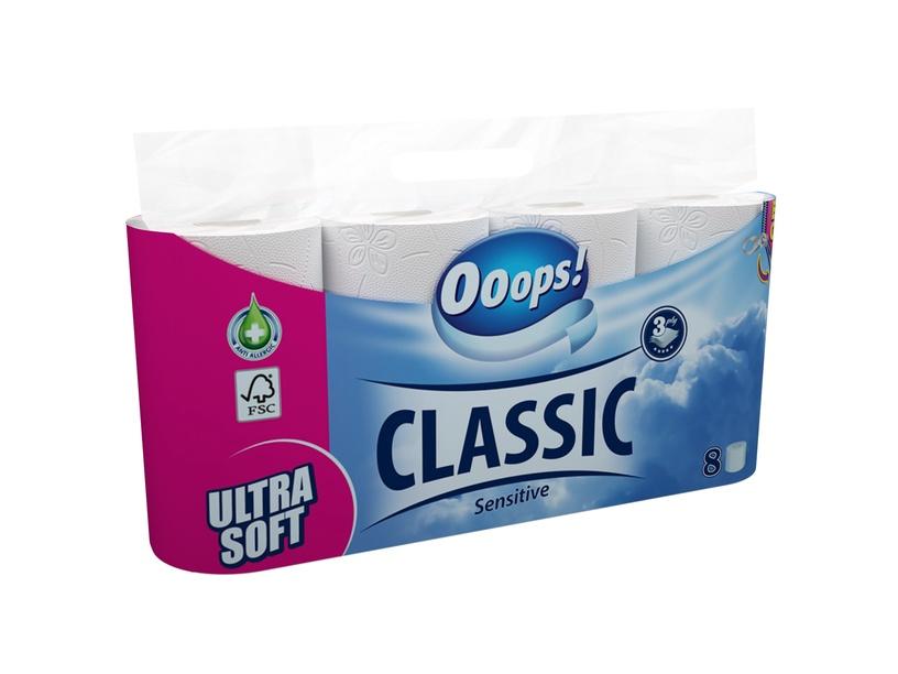 Tualetinis popierius Ooops! Classic, 3 sl., 8 vnt.