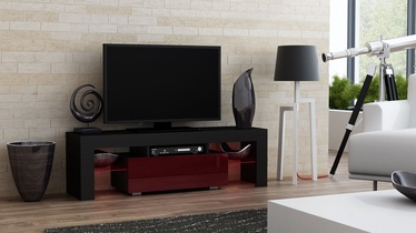 TV staliukas Pro Meble Milano 130 With Light Black/Red, 1300x350x450 mm