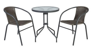 Home4you Bistro Table And 2 Chair Set Grey