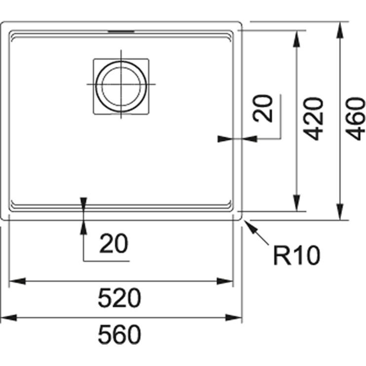 Раковина Franke 125.0627.319, масса камня, 560 мм x 460 мм x 200 мм